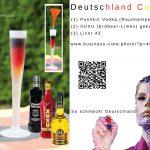 Deutschland Cocktail in den Nationalfarben Schwarz, Rot, Gold