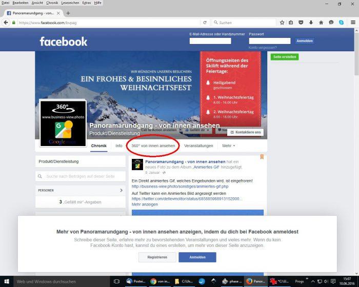 360 Grad Tour in Facebook einbinden