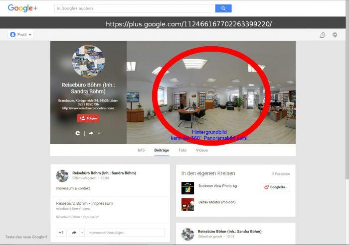 Google+ MyBusiness Hintergrundbild