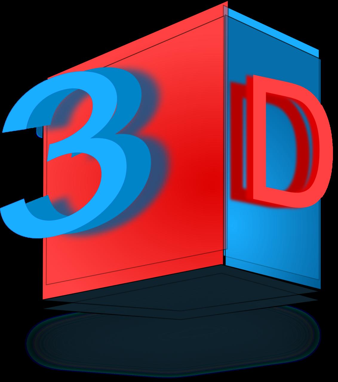 3D, rot blau