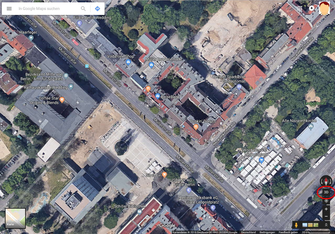 Google Earth, Satelliten Ansicht