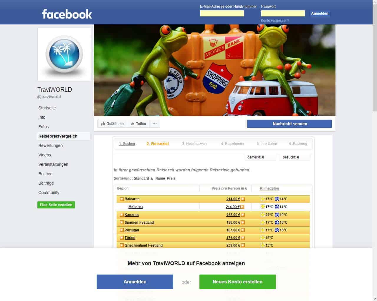 Reisebuchung auf Facebook