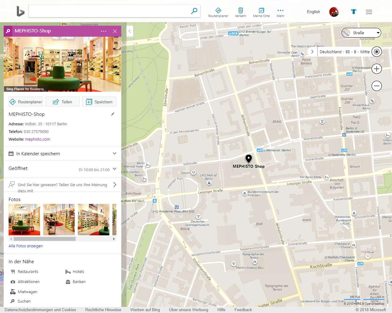 bing Maps Beispieleintrag