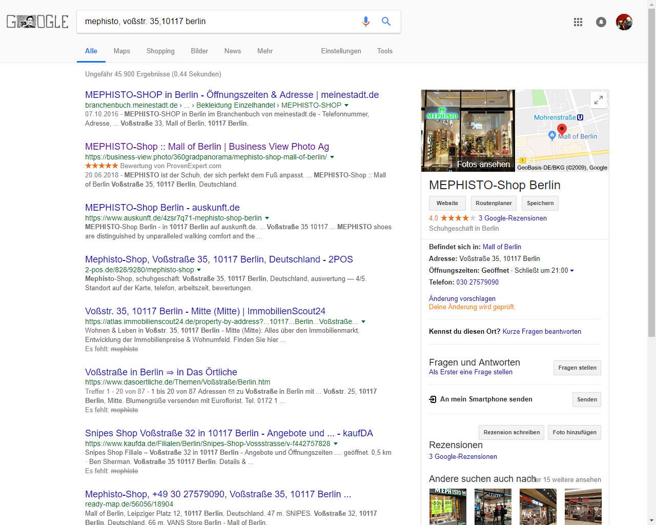 Google Suchmaschine mephisto berlin