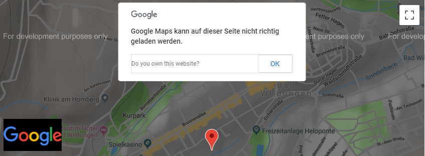 Google Maps API Fehler