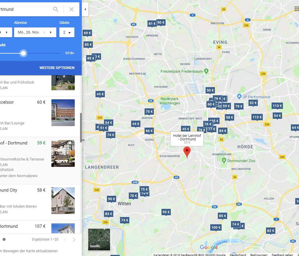 Hotelsuche Dortmund Screenshot