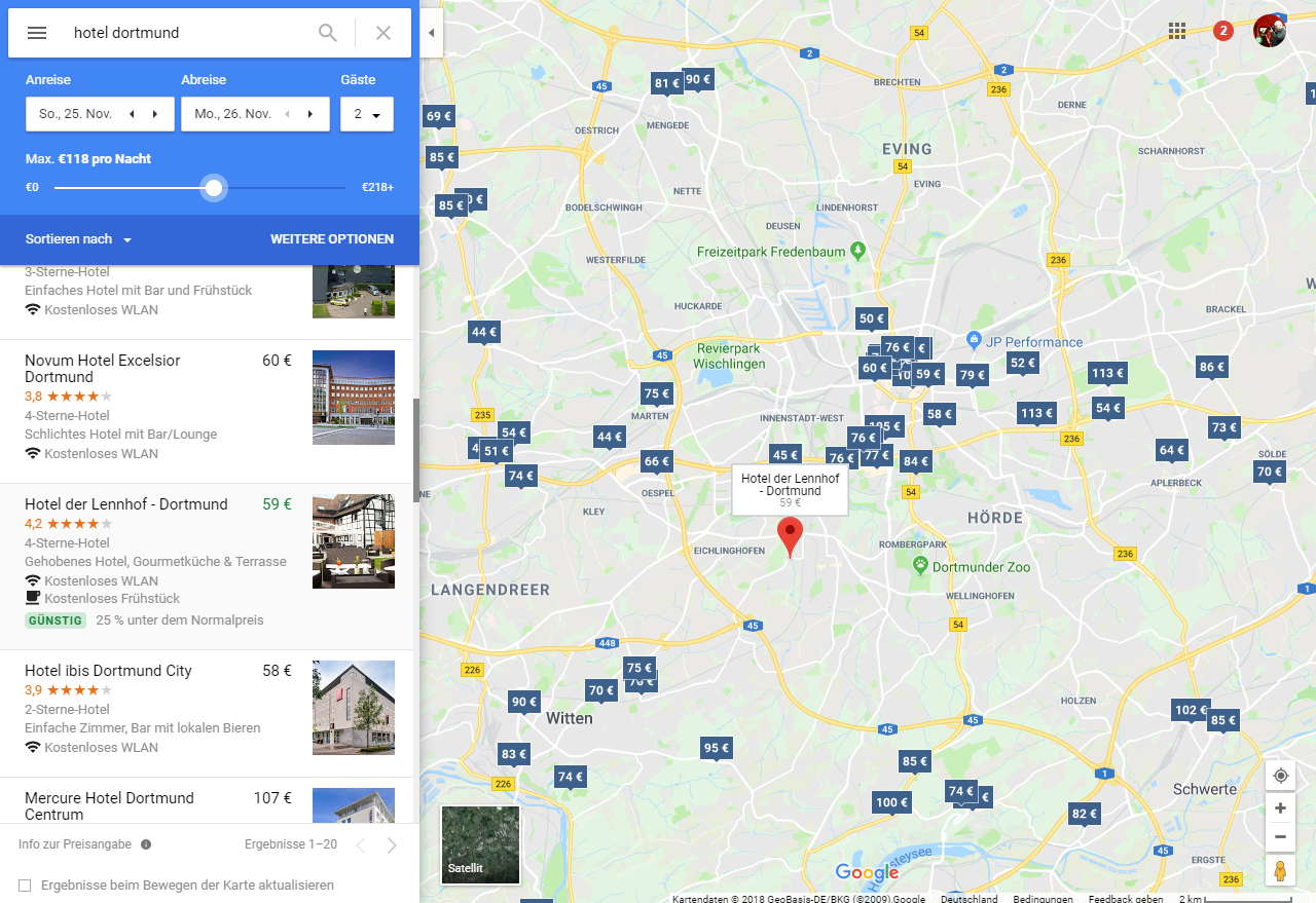 Hotelsuche Dortmund Screenshot