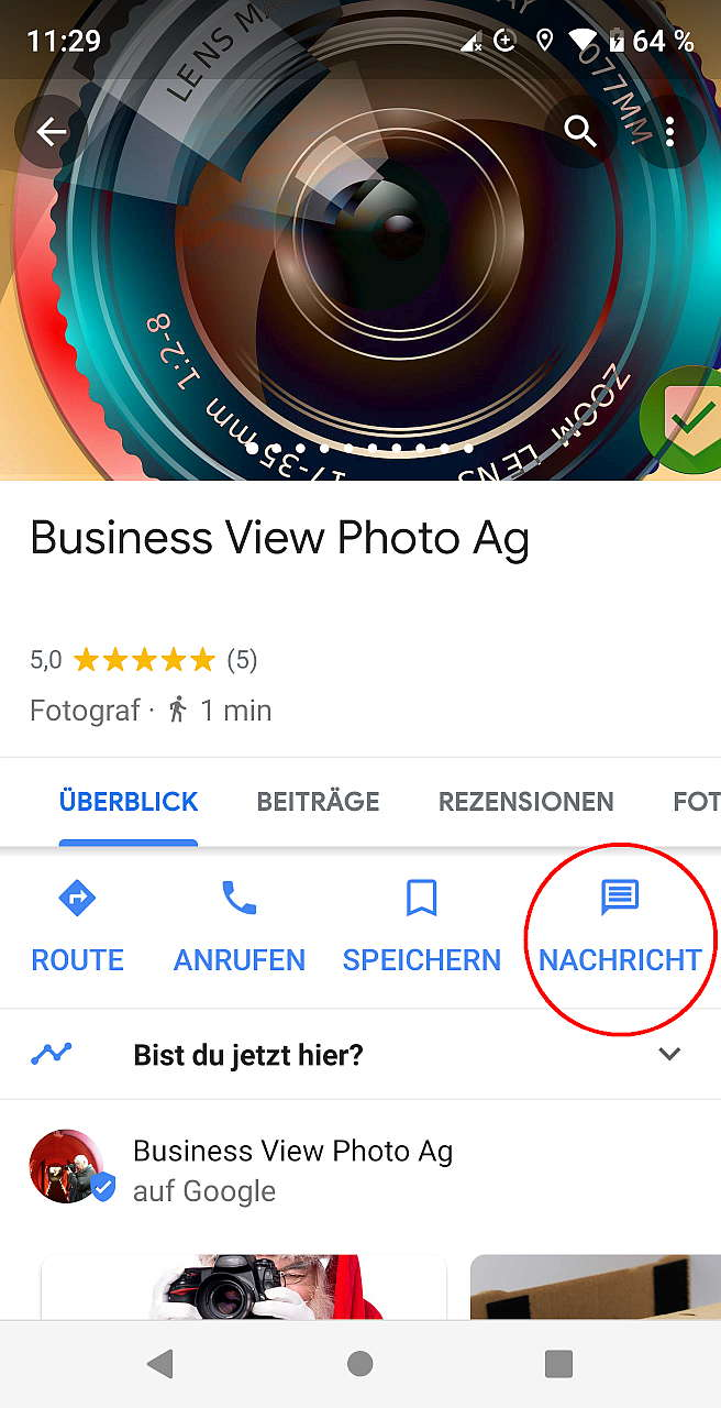 Google Maps Nachrichten, Screenshot vom 14.12.2018 -11:29h
