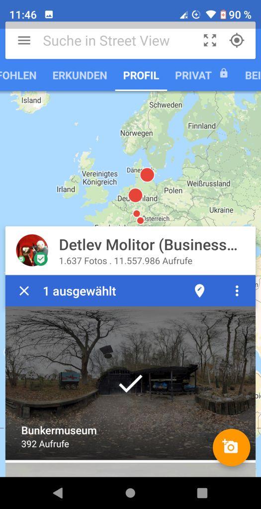 Google Street View App Ausgewählt