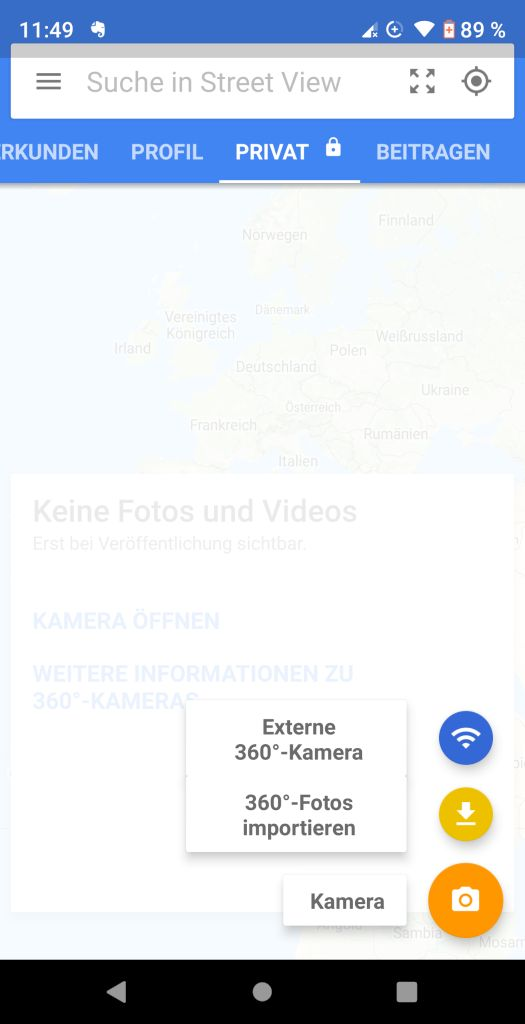 Google Street View App Kameramenü
