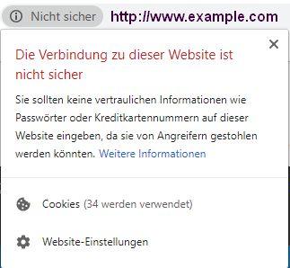 Webseite unsicher