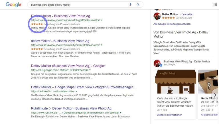 Google Bewertungs Sterne in der Suchmaschine, bringen bis zu 35% mehr Klicks!
