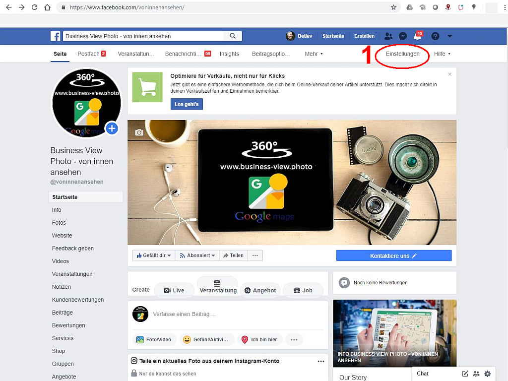 Screenshot facebook Business Seite
