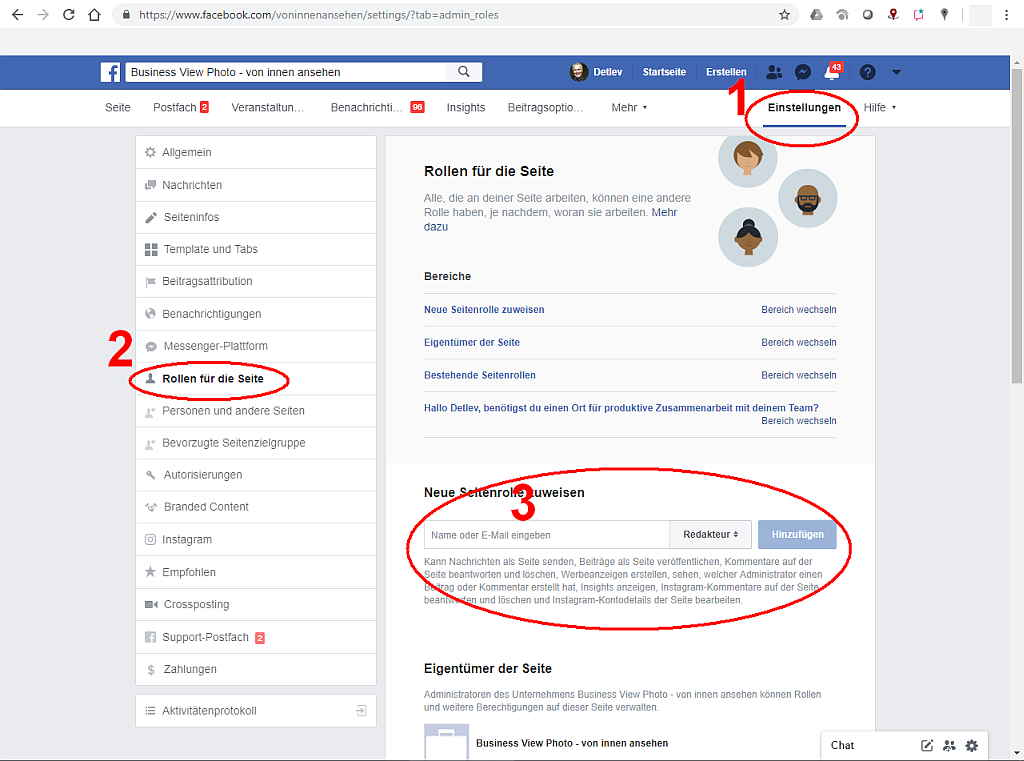 facebook neue rolle hinzufügen