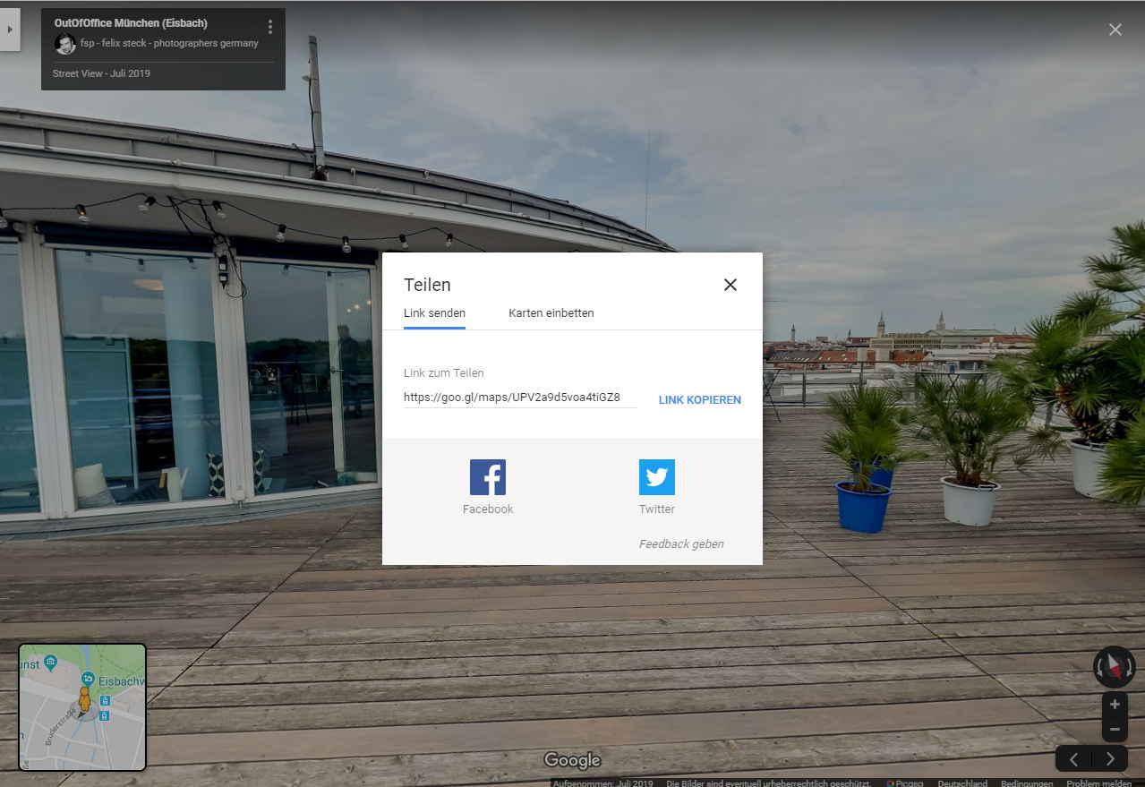 Google Street View Trusted - Link teilen auf Facebook oder Twitter