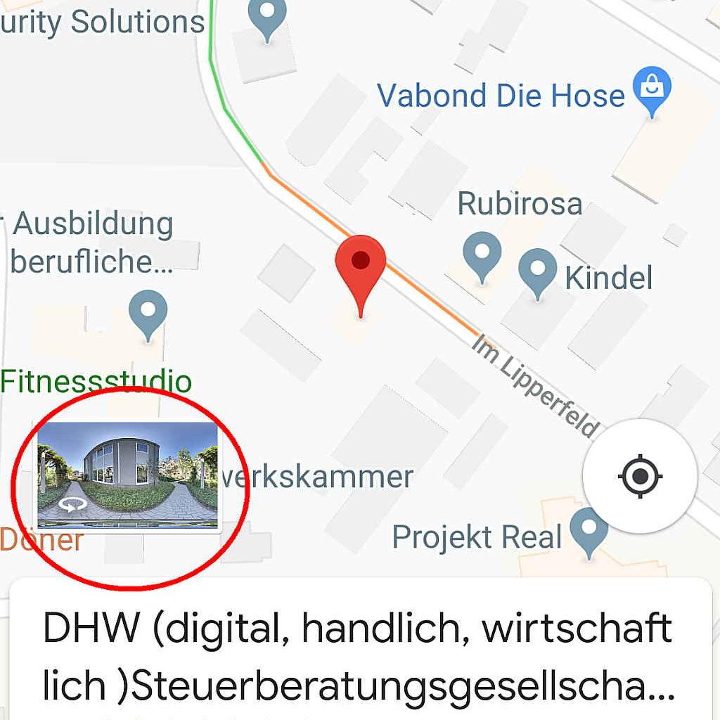 Firma mit 360 Grad Google Rundgang in Maps
