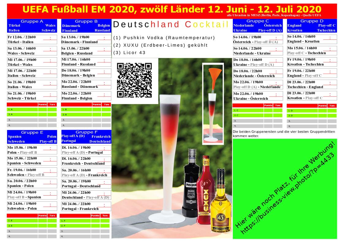 Spielplan UEFA Fußball EM 2020