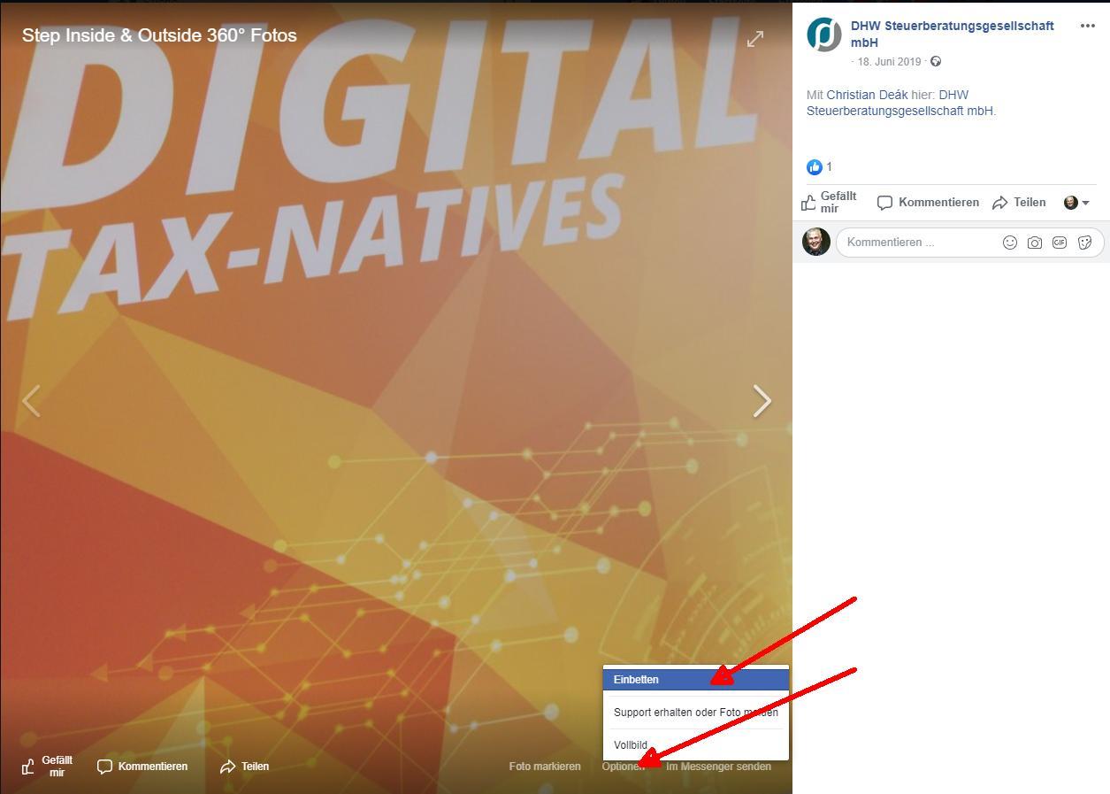 Facebook 360 Grad Bild - in die eigene Homepage einbinden