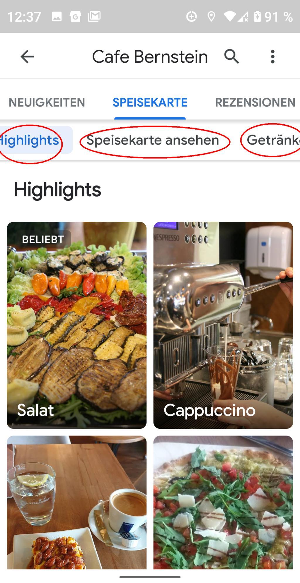 Google Lens Speisenkarte auslesen