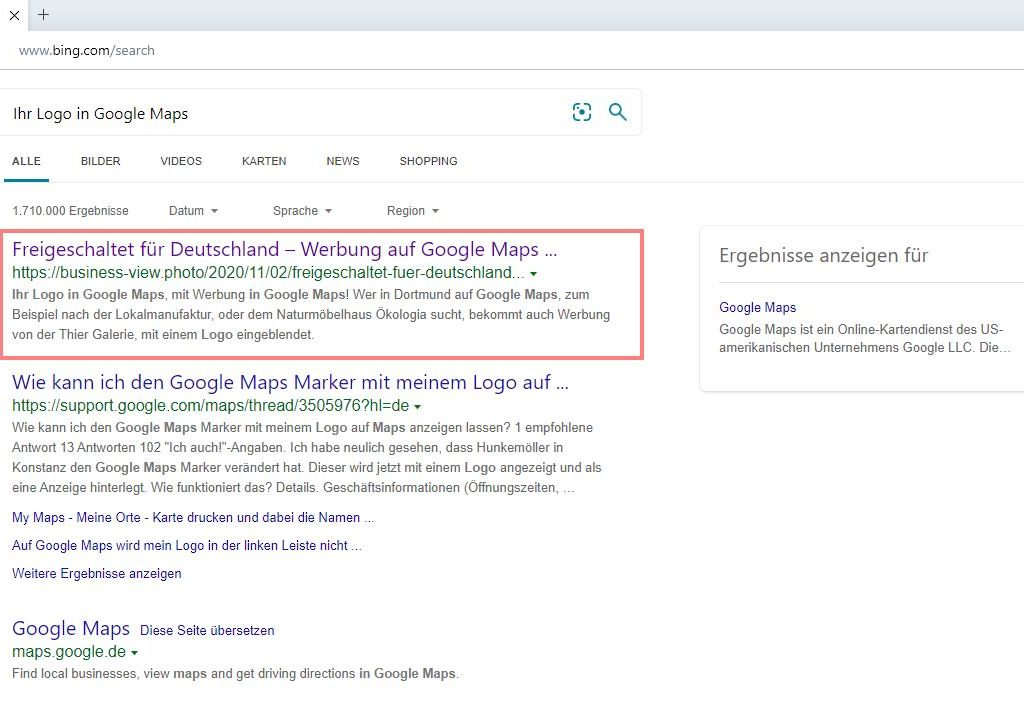 Screenshot bing vom 02.11.2020 - Platz 1, vor Google