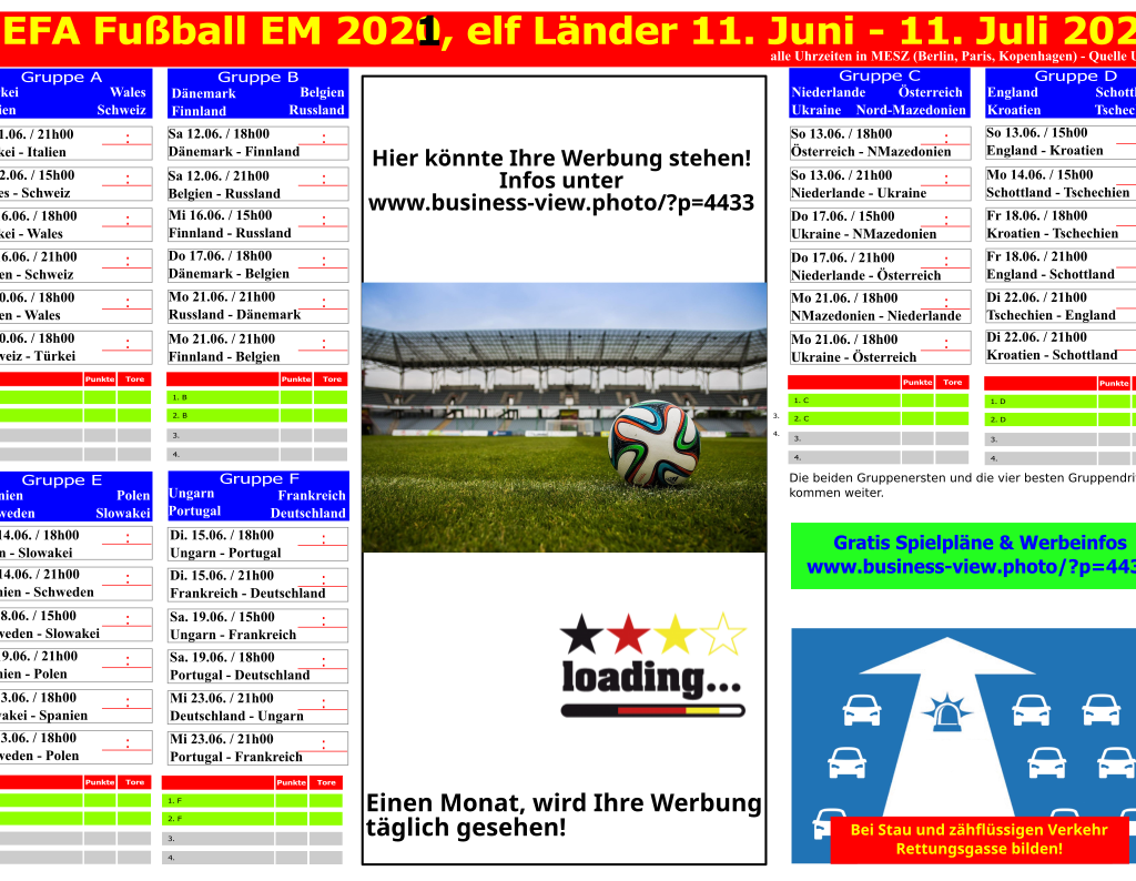 Fussball EM 2021 Spielplan